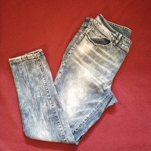 SOHO NY&Co. Acid Wash Curvy Boyfriend Jeans